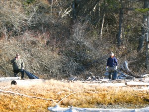Joe Peters and Daniel Kuntz from Natural Resources picking up trash on Squaxin Island