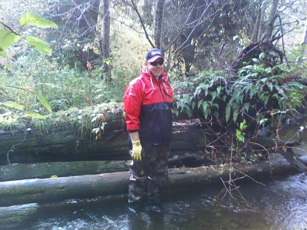 Joe Peters in Campbell Creek doing an adult spawner survey.